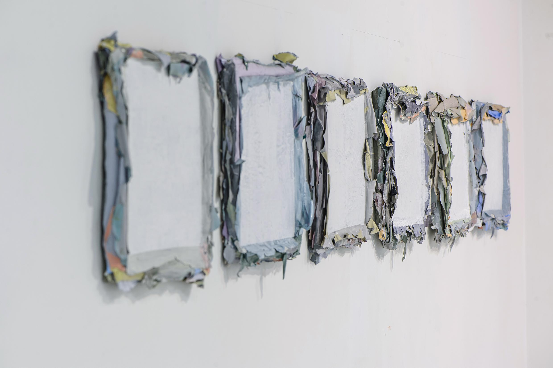 Małgorzata Pawlak,  Zlepki, 2015, 6(30x30cm),akryl na hdf