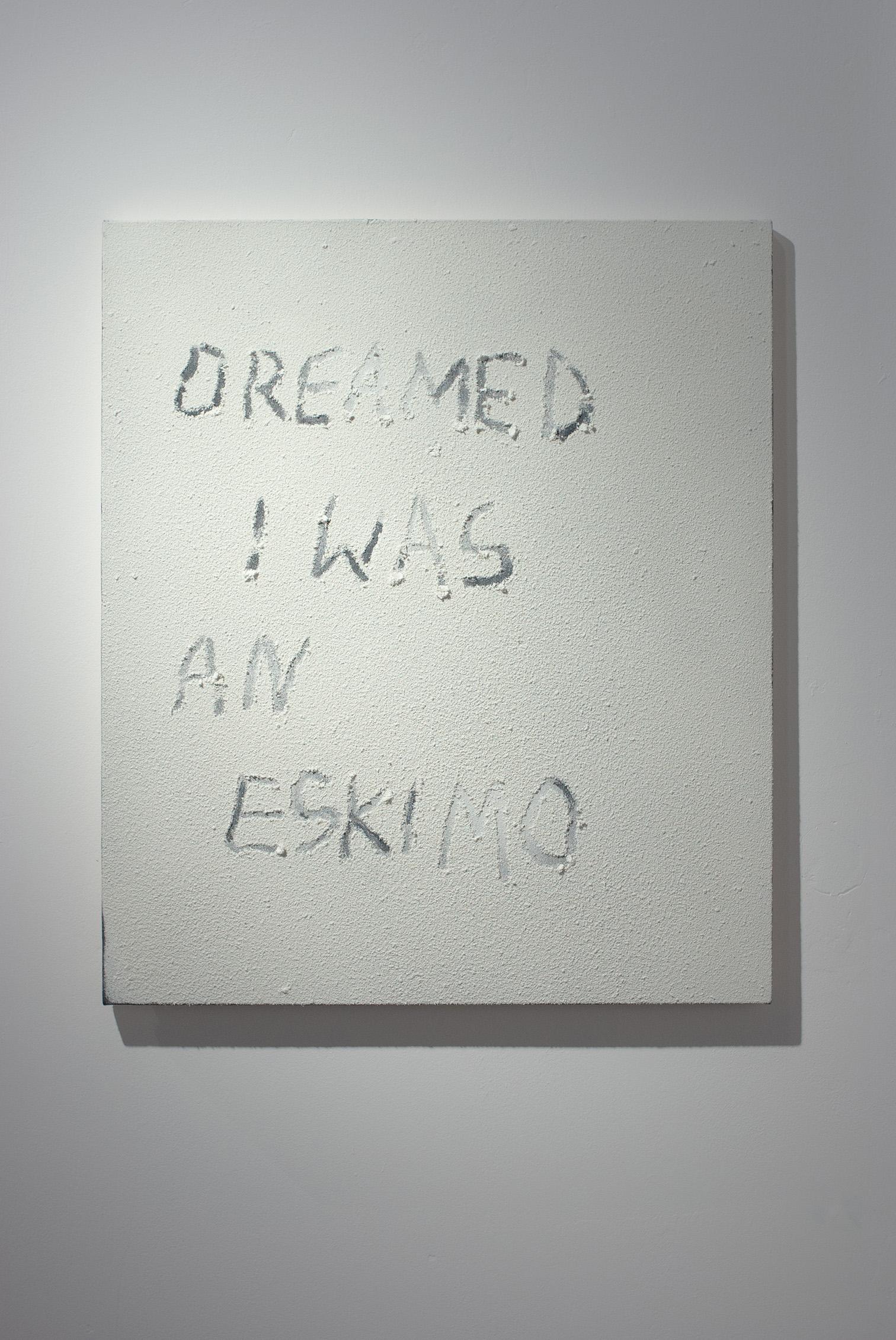 Małgorzata Pawlak, Eskimo. Hommage to Frank Zappa, 2020, 70 x 60 cm, sztuczny śnieg na płótnie