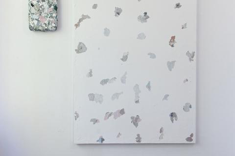 Małgorzata Pawlak,  Kawałek czasu 3, 2019, 140x100 + obiekt, zdrapany obraz