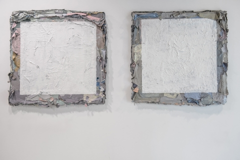 Małgorzata Pawlak, Warstwy 1, 2, 2016, 6(120x120cm), akryl na hdf