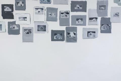 Małgorzata Pawlak,  Google Igloos, 2019, 150x300cm olej, akryl