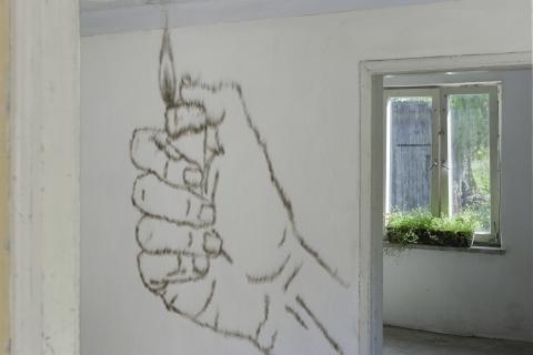 Kopeć, rysunek kopcony, w tle Mikołaj Kowalski, Małgorzata Pawlak, Chwasty, wyst Pal licho! Bwa Drewniana, 2020