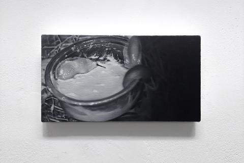 Ślimaki w śmietanie, 2021, olej na płótnie, 13x24 cm