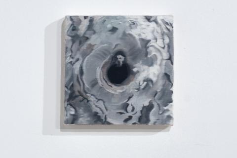 Dziupla 5, 18x18cm, olej na płótnie, 2020