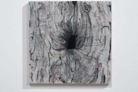 Dziupla 6, 25x25cm, olej na płótnie, 2020