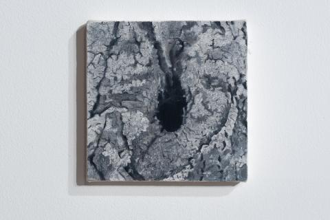 Małgorzata Pawlak, Dziupla 7, 18x18cm, olej na płótnie, 2020