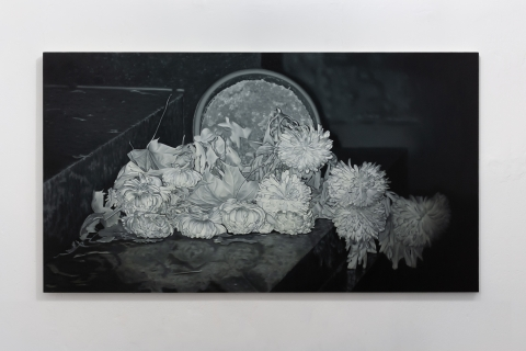 Pawlak M, Chryzantemy, 110x200 cm, olej na płótnie, 2021 (2)